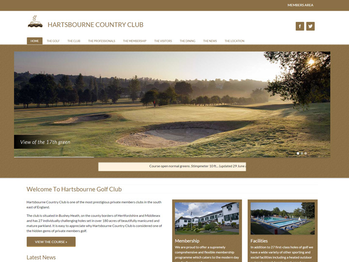 Hartsbourne Golf Club Website