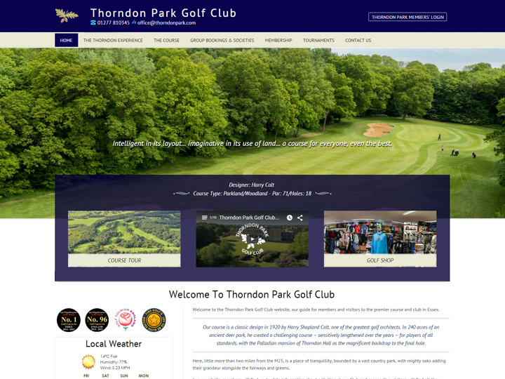 Thorndon Park Golf Club Website