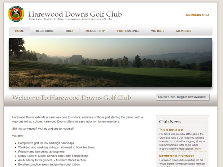 Harewood Downs Golf Club Website