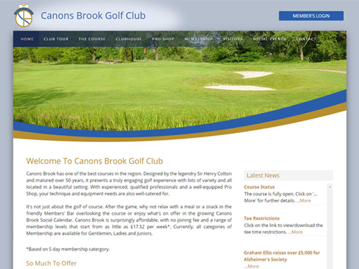 Canons Brook Golf Club Website
